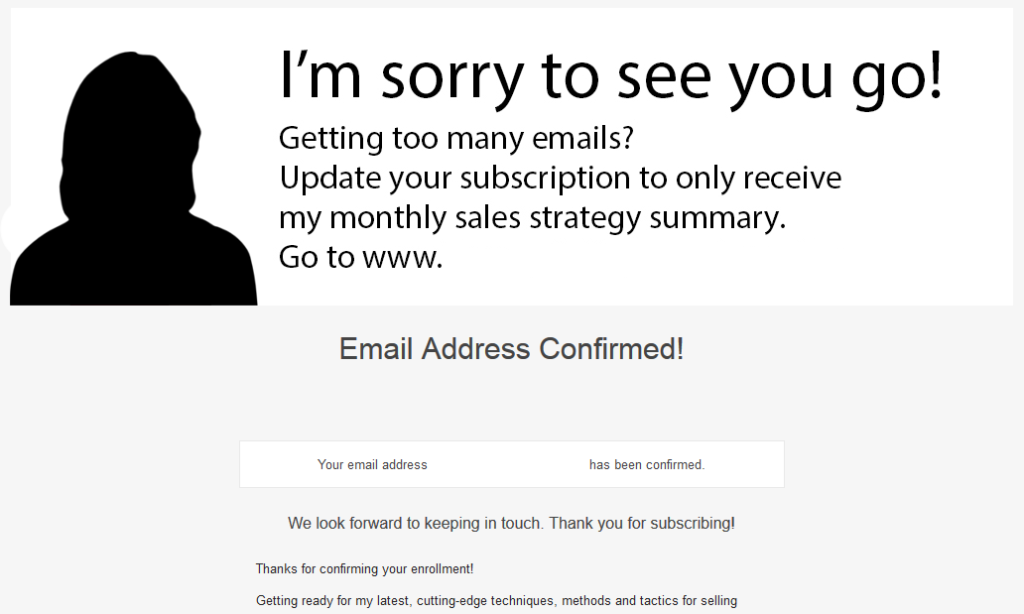 confirmation email landing page mistake