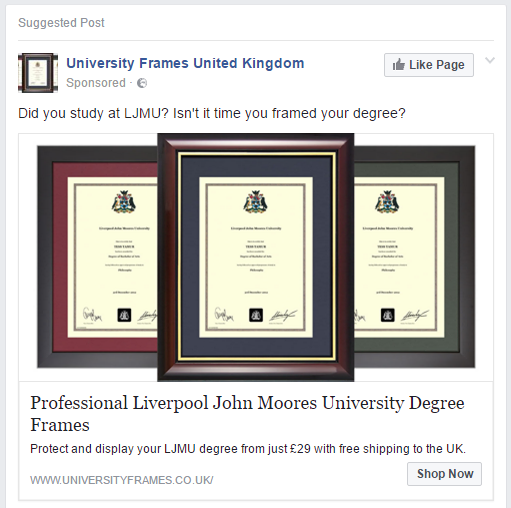 degree frame advert