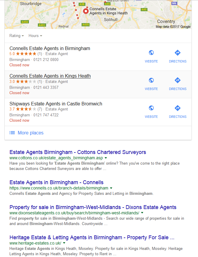 estate agent Birmingham Google search
