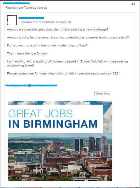 recruitment post about jobs in Birmingham