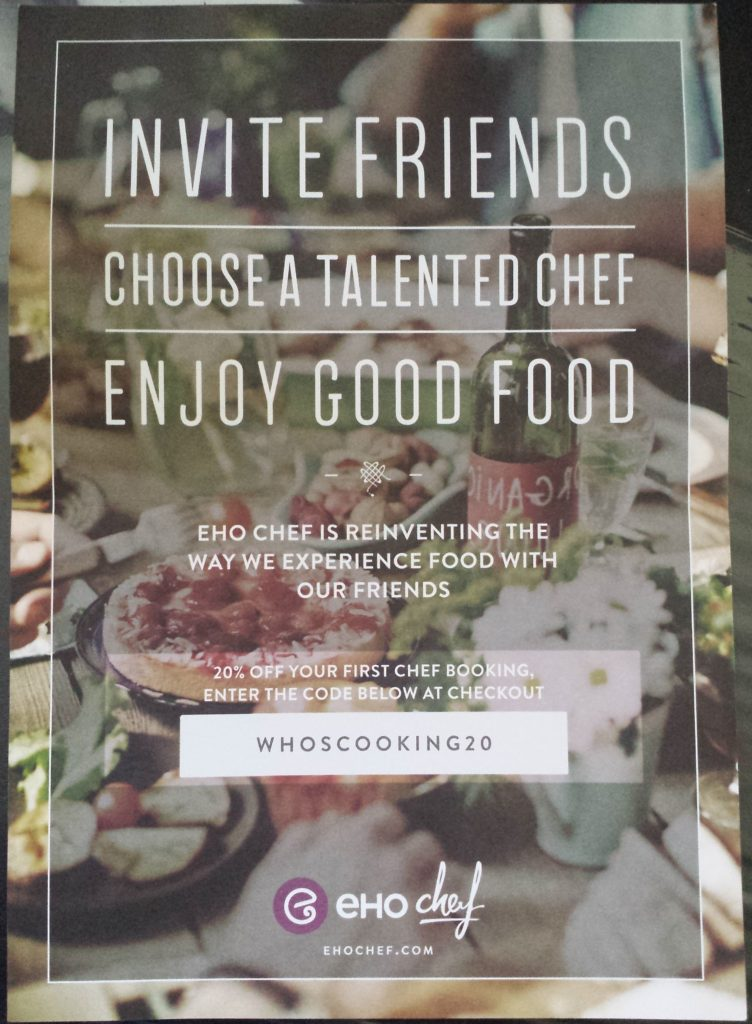 eHo Chef: reinventing the way we experience food with others 20% off first chef booking printed flyer