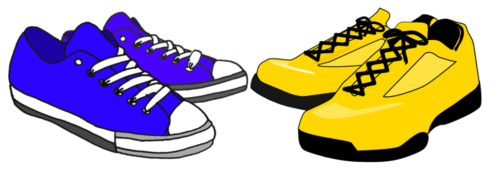 blue trainers yellow trainers