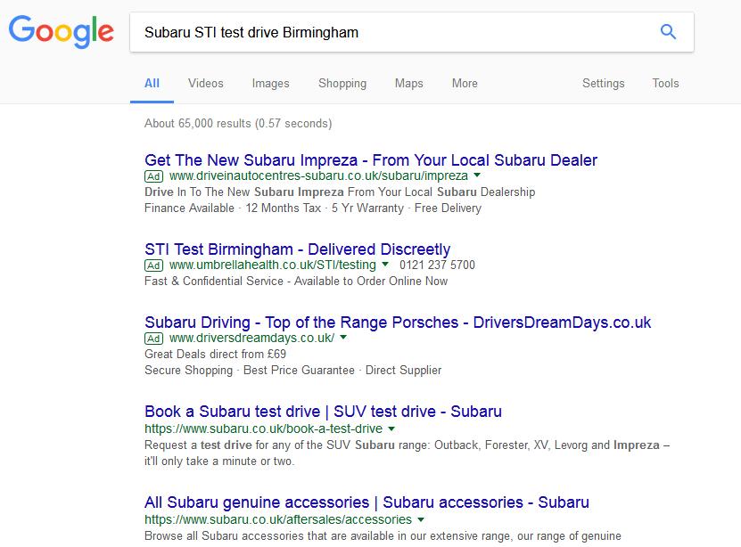Subaru STI PPC results