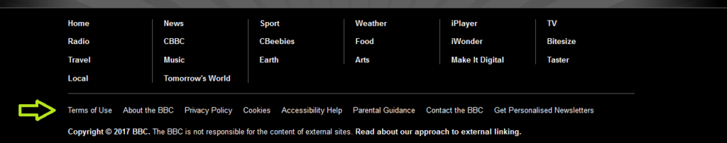 BBC's footer terms and conditions, privacy policy and cookies notice