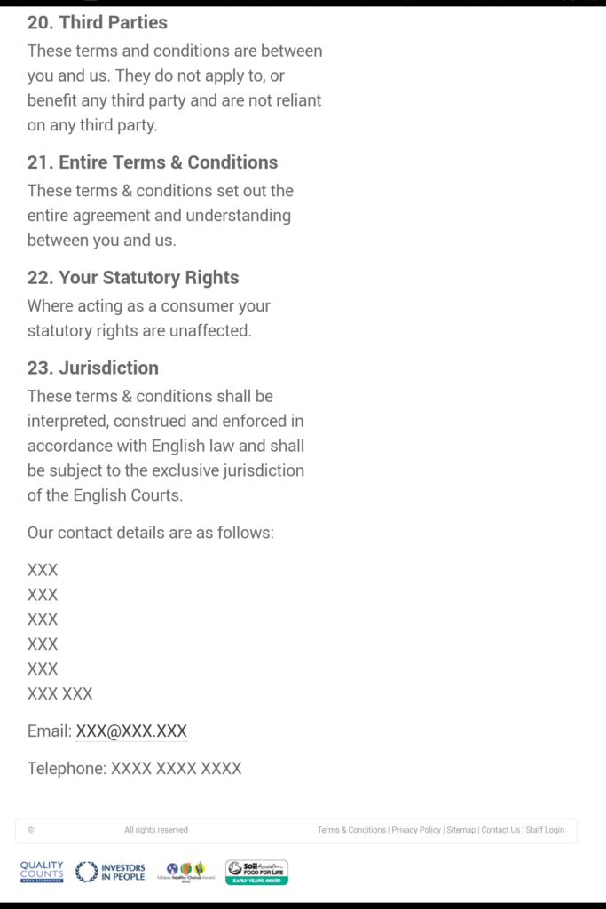 Agency forgot to add address to terms and conditions