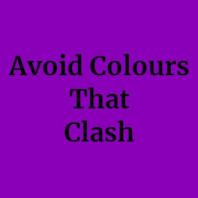 clashing colours black text purple background